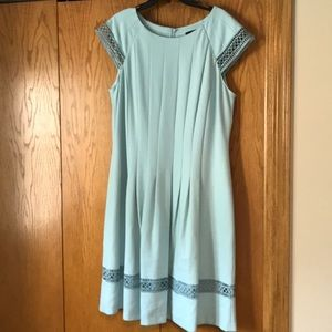 Pale blue dress with lace insets